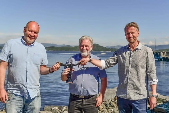 From left: Tor Kristian Gyland (Green Mountain), Alf Reime and Asbjorn Drengstig (Norwegian Lobster farm)