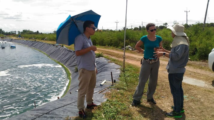 Dr Barrento at a shrimp farm in Thailand