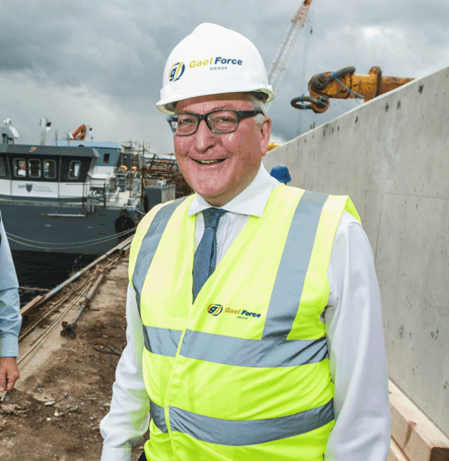 Gael Force Group owner and MD, Stewart Graham with Scotland's Cabinet Secretary for the Rural Economy, Fergus Ewing.