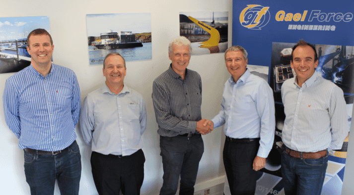 From left to right Stephen Offord (Production Director, Gael Force Engineering), Jim Brown (Operations Director, Gael Force Marine Equipment), John Offord, Stewart Graham (MD Gael Force Group), Jamie Young (Sales Director, Gael Force Group).