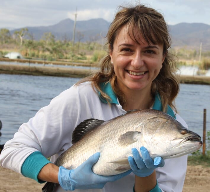 Giana Bastos Gomes with a barramundi.