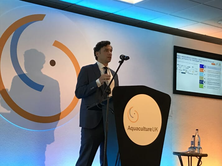 Rabobanks senior seafood analyst, Gorjan Nikolik, addresses delegates at the Aquaculture UK Conference