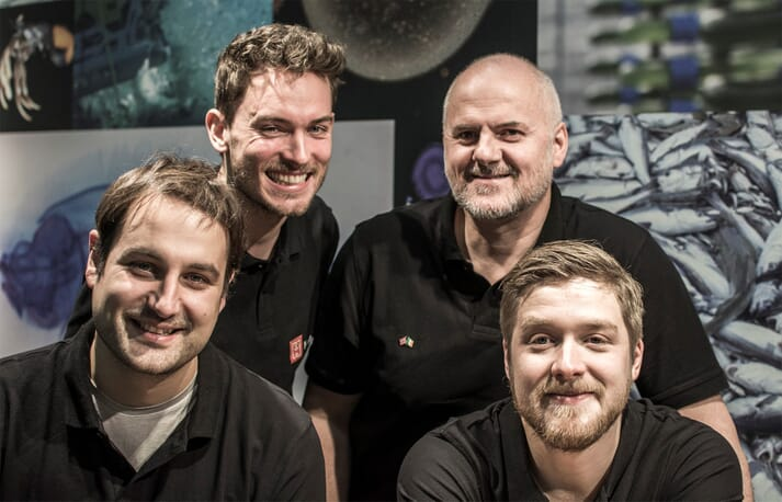 The key players in Hatch, from left to right: Carsten Krome (CEO), Georg Baunach (development director), Wayne Murphy (COO) and Emil Lindfors (Programme Developer)