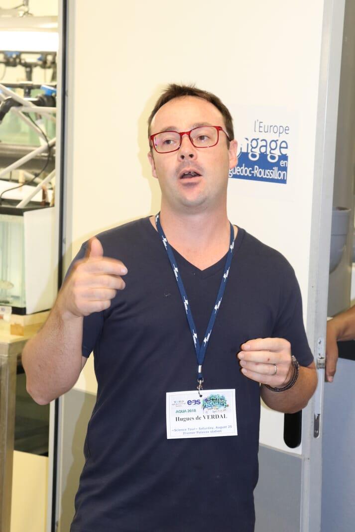 Dr de Verdal showed a group of delegates at Aqua 2018 around the CIRAD-Ifremer Palavas-les-Flots facility, near Montpellier