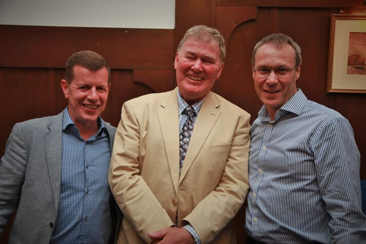 Geoff Kidd (centre) at a dinner to mark his retirement after 40 years with Scottish Sea Farms, with Jim Gallgher (left) and John Rea (right)