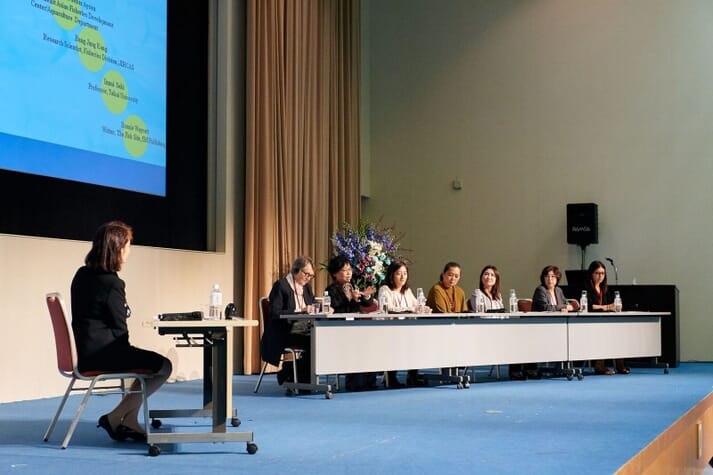 The speakers shared the stage for a panel discussion at the end of the event