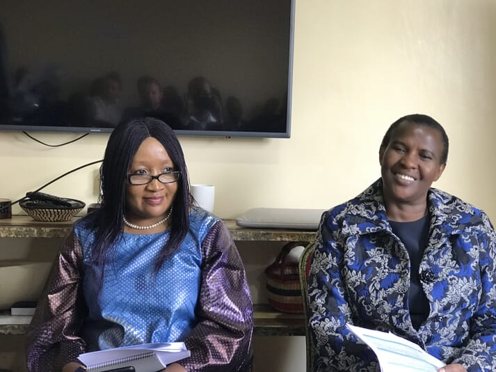 The African Development Bank Group's Rose Mwebaza (left) and Alice Ruhweza from Conservation International after delivering their opening statements
