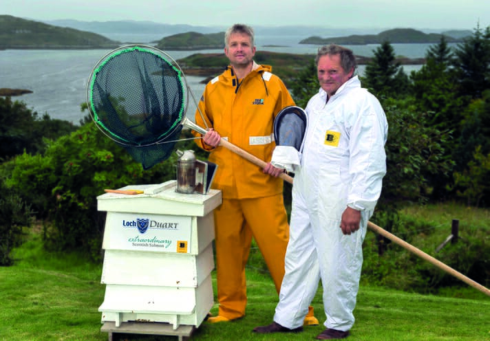Loch Duart's production controller, Wayne Davis and beekeeper Paul Whitehouse