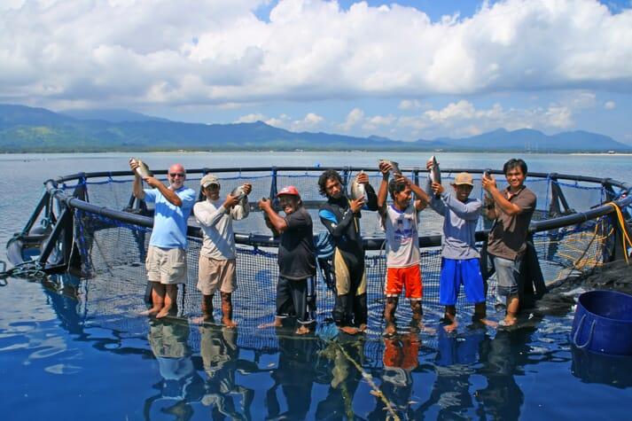 The NewSeas barramundi growing team, on site in Bali
