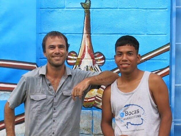 Till Deuss (left), the founder of Bocas Mariculture