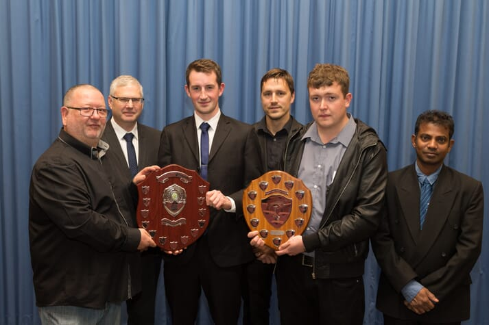 Gary Buchan (Grieg Seafood Shetland, Scottish Salmon Producers' Award), Stuart Ftizsimmons (NAFC, Section Leader - Aquaculture Training), Matthew Dade (Grieg Seafood Shetland, Scottish Salmon Producers' Award), Laurence Pearson (NAFC, Aquaculture Trainer) and Ross Johnson (Cooke Aquaculture, Jim Tait Prize for Aquaculture)