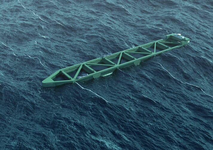 An artist's impression of the 385 metre 'Havfarmen', which will hold up to 2 million salmon