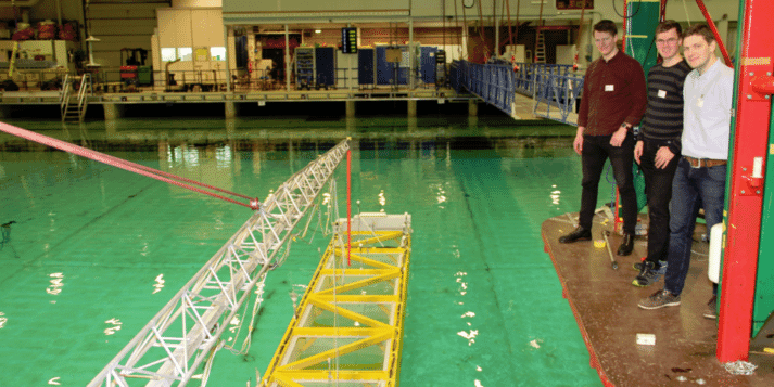 A model of the Havfarm being tested at SINTEF's Ocean Basin Laboratory
