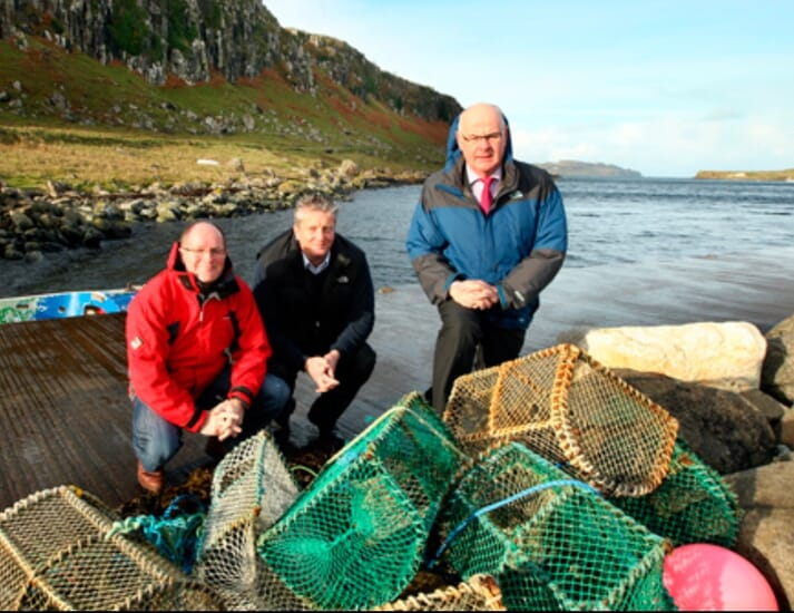 ​Organic Sea Harvest is being​ led by Alex MacInnes, Robert Gray and Alister MacKinnon, pictured on Staffin Pier, potentially the site of their new processing plant