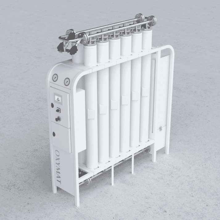 Oxymat's compact on-site system allows farmers to produce oxygen directly at the sea cages.