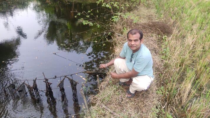 Pearl mussel producer Akshay Pradhan