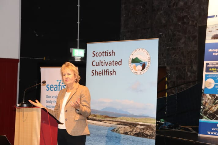 Roseanna Cunningham delivering the opening address to the ASSG conference in Oban