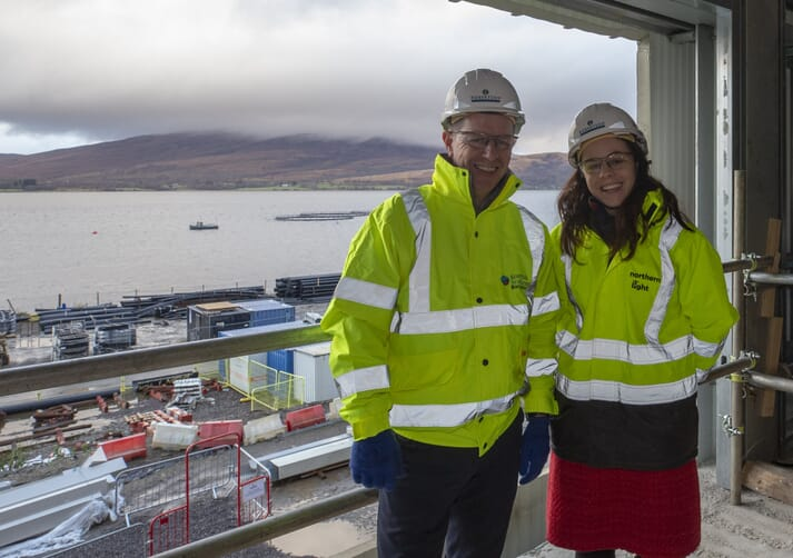 Scottish Sea Farms' Managing Director Jim Gallagher with Kate Forbes MSP, at the Barcaldine hatchery