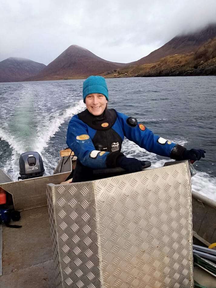 The author at work on Loch Slapin