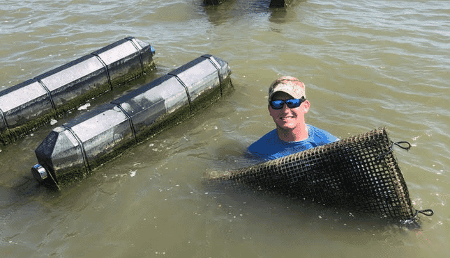 AUSL student, John Lewis, working OysterGro cages in Grand Bay, Alabama