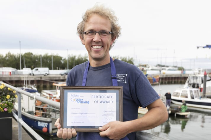 Tristan Hugh-Jones of Loch Ryan Oysters, Scotland's largest native oyster fishery, won the award