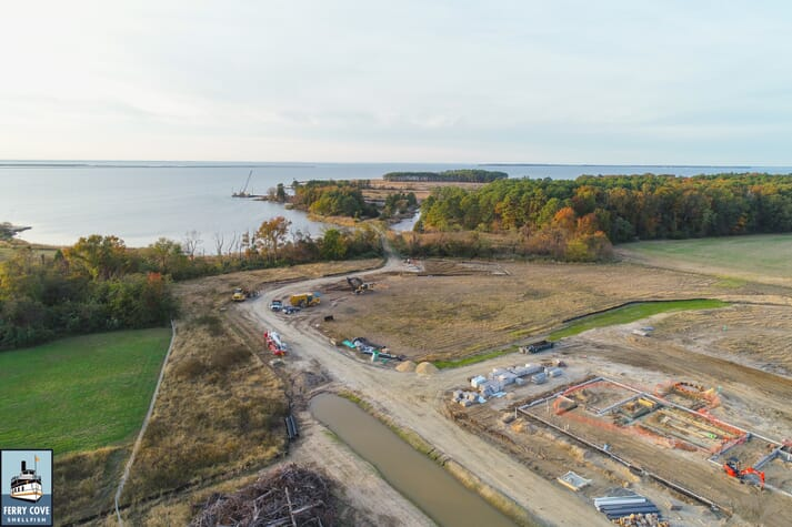 The site where the Ferry Cove Shellfish oyster hatchery is currently under construction