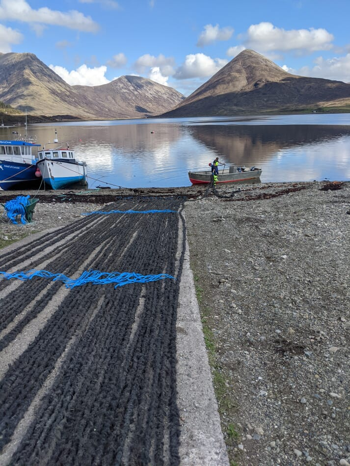 Continuous spat collection ropes -  one of two methods trialled by the Isle of Skye Mussel Co this season