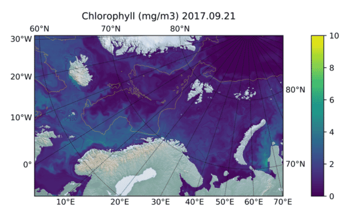 Large scale chlorophyll concentration estimates off the Norwegian coast.