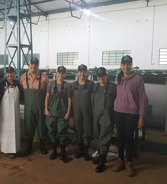The workforce at FAI aquaculture's tilapia hatchery in Brazil is largely female.