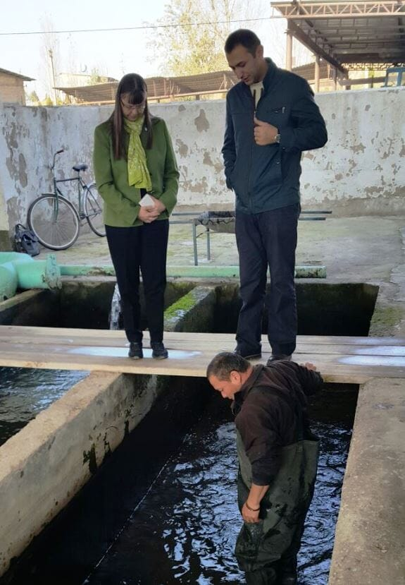 Victoria Chomo at an aquaculture research centre in Tashkent