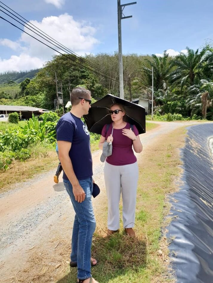 Dr McBain at a shrimp farm in Phuket, Thailand, where she was working with the Eachmile team to set up a Fishcoin (blockchain traceability) trial