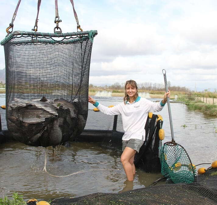 Dr Giana Gomes has specialised in eDNA sampling techniques to help detect parasites in the water