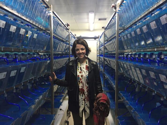 Dr Tibiábin Benítez-Santana at the China Zebrafish Research Centre in Wuhan