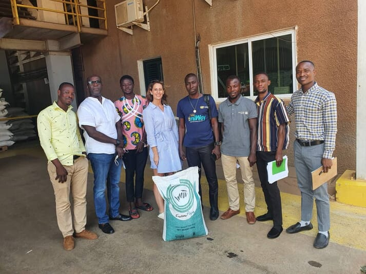 Anais Legendre (centre) with some of her colleagues at Cycle Farms, a Ghana-based insect protein producer