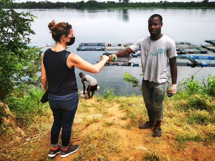Legendre enjoys trips into the field to meet Ghana's farmers