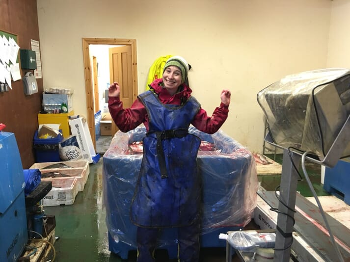 Dr Elizabeth McStay from Stirling's Institute of Aquaculture sampling Atlantic salmon