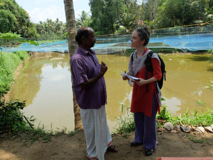 Dr Brugere interviewing a tilapia farmer in India