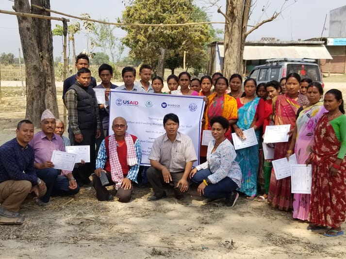 Juli-Anne with Nepalese carp farmers receiving a certificate in Fish Nutrition and Feeding Management, sponsored by USAID, Farmer to Farmer and Winrock International