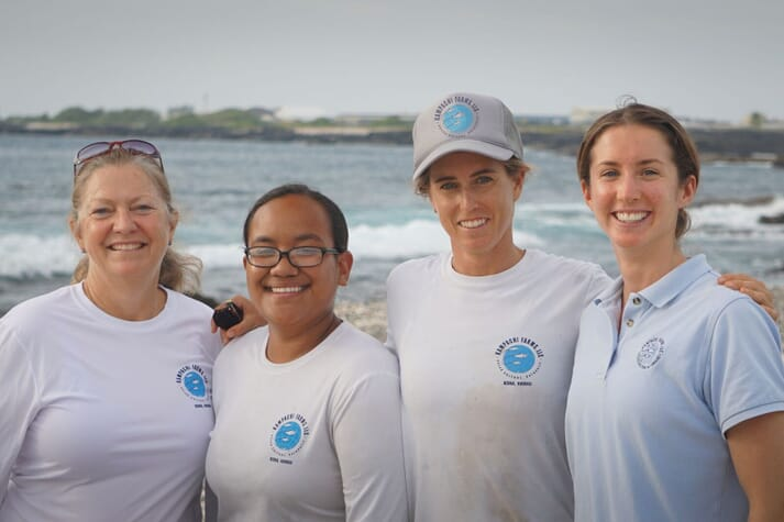 Kampachi Farms is run by a team that's 50 percent female. Here, from left to right: Lucie Leonard, Taimane Ulu, Helen Meigs, and Lisa Vollbrecht