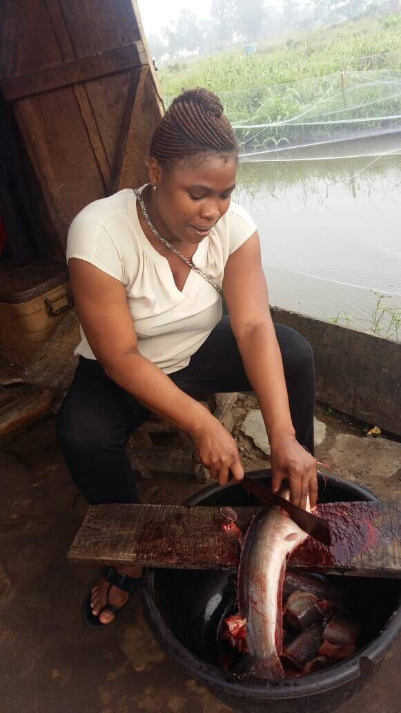 Lillian feeds, harvests, slaughters and smokes her own catfish
