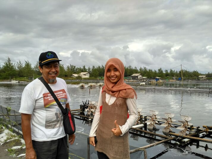 Liris Maduningtyas, CEO and co-founder of Jala, visiting a shrimp farm