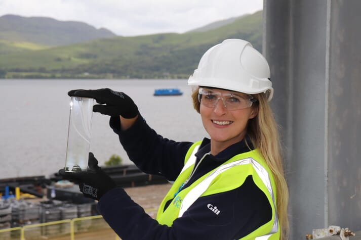 Lynne with her Rising Star Award at Scottish Sea Farms' Barcaldine hatchery, which is due to receive its first salmon ova in November