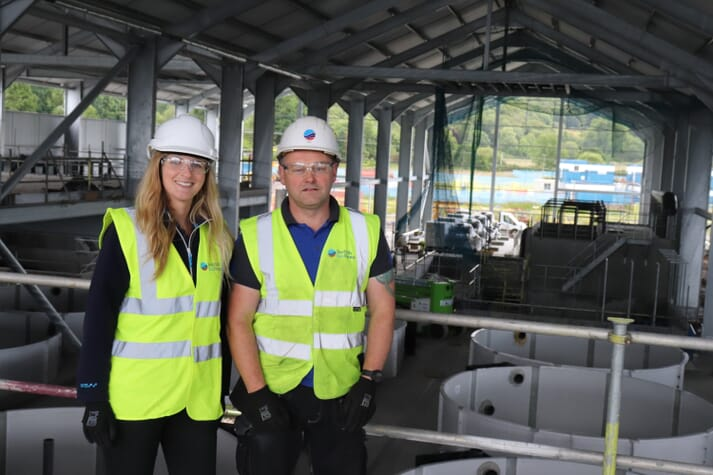 Lynne with Ewen Leslie, at Scottish Sea Farms' new £44 million RAS hatchery at Barcaldine