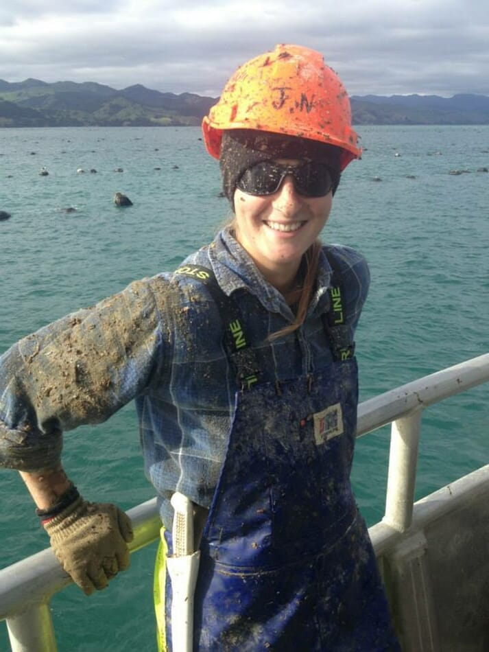 Lynne's first job in aquaculture was on the largest mussel farm on New Zealand's North Island