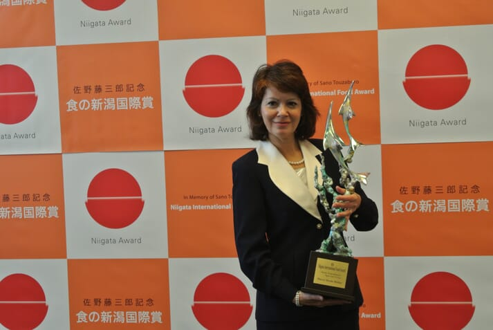 Receiving the Fourth Niigata International Food Award on November 9, 2016. The award recognises contributions to food supply stabilization/international development though research and policy-making (Dr Wilder was recognized for her basic research on crustacean biochemistry and its applications to commercial aquaculture technology).