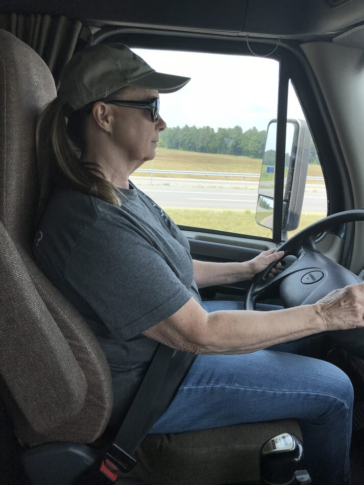 The Department of Transport often hauls Margie over for questioning because female truck drivers are so scarce