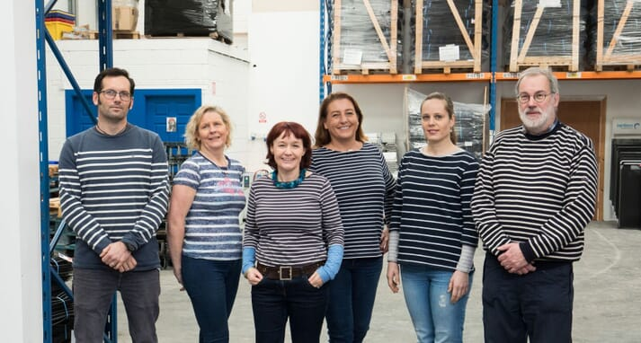 Marie-Aude (third from right) and her colleagues at Triskell Seafood sporting their best Breton attire