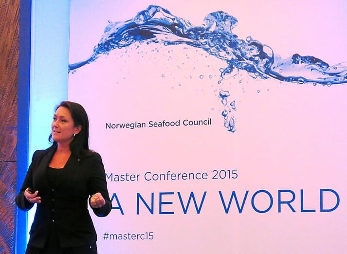 Presenting at the Norwegian Seafood Council's New World Conference, 2015