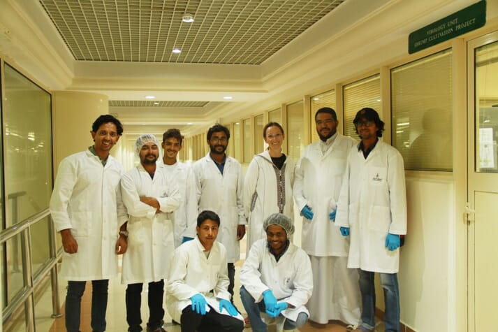 With the diagnostic team at NAQUA, which produces 90 per cent of Saudi Arabia's aquaculture output