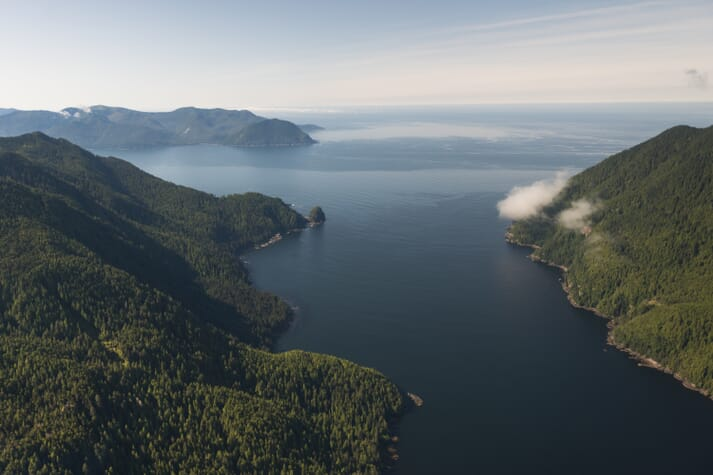 An aerial view of the coastline of British Columbia
